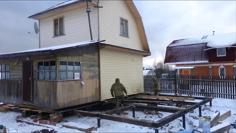 Подъем передвижка и установка дома на новый фундамент