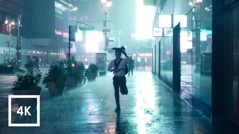 Walking in Heavy Thunderstorm at Night in NYC Umbrella Binaural 3D Rain Sounds ASMR 4K