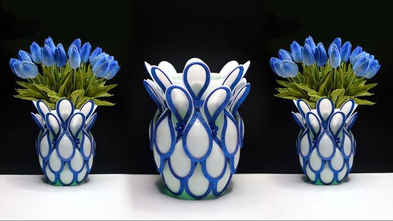 Plastic Spoon flower vase Best out of waste Ide kreatif sendok plastik plastic spoon craft ide