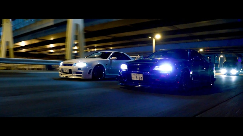 Night Run with Charles' and Dustin's R34 GTR's in Tokyo 4K