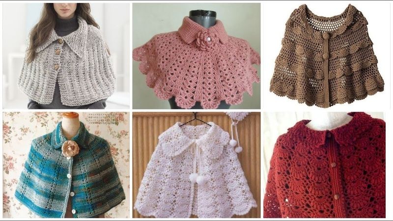 Latest stylish Beautiful crochet knitted caplet round yoke shawl scarf design for high fashion