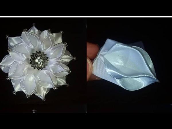 Шикарный пышный бант Канзаши diy kanzashi satijnen lint decoratie サテンリボンの花 Flower of satin ribbons
