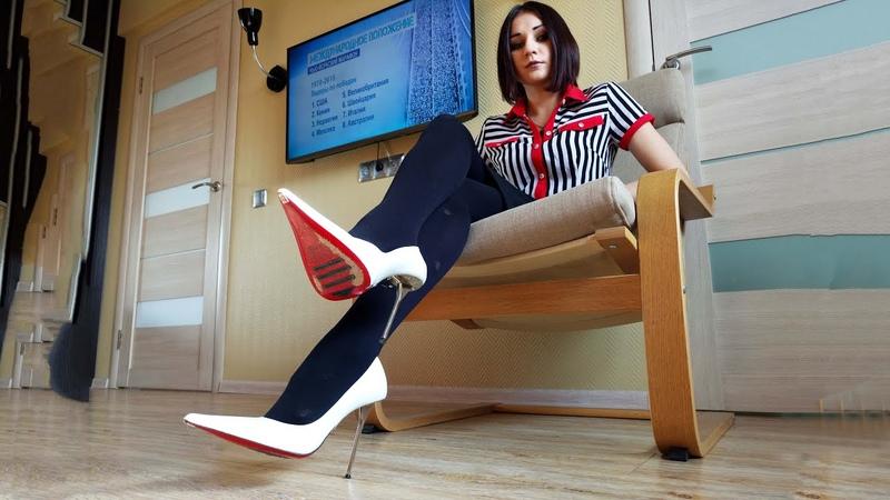 Masha's Gianmarco Lorenzi pointy toe stiletto high heels white leather pumps red soles Size 37