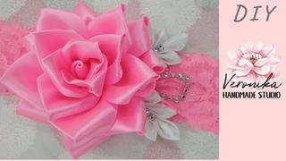 🌸Повязка на голову с Розой из ленты 5см МК🌸DIY Satin ribbon Rose🌸Tiara de flor Rosa de satin fita