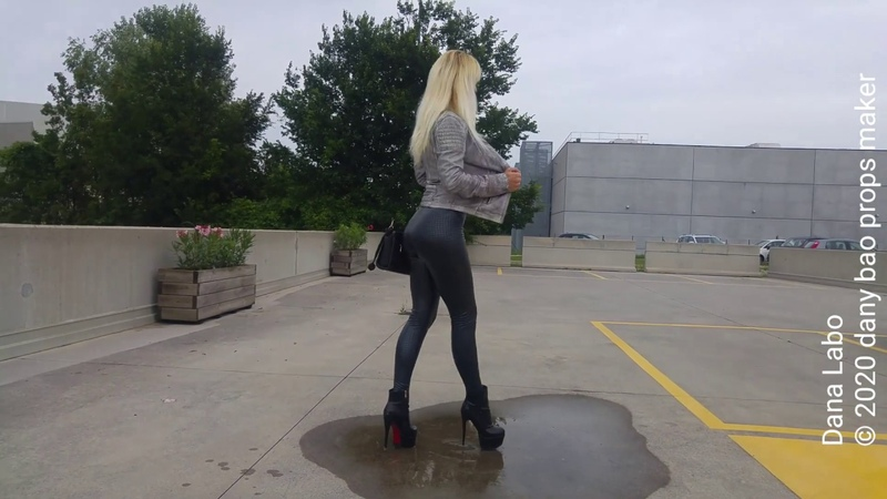 DANA LABO walk new woman collection of 3d leggings and shiny black boots