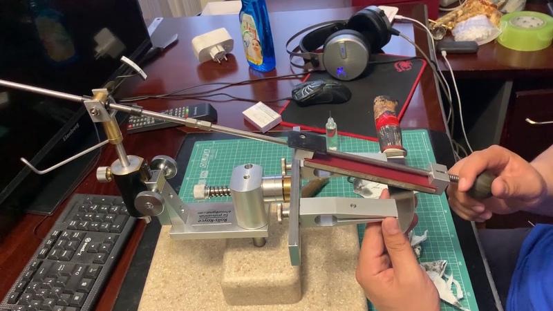 Заточка ножа из стали м390 Венёвскими алмазными брусками на OSB связке