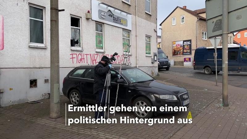 """Eisenach Antifa Abschlag auf Rechte Kneipe """"Bull's Eye"""" an der Mühlhäuser Straße"""