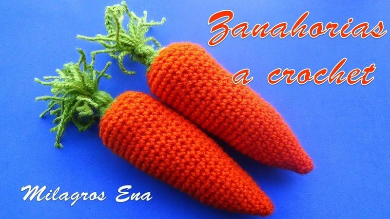 Zanahoria tejida a crochet para adorno de cocina paso a paso en video tutorial