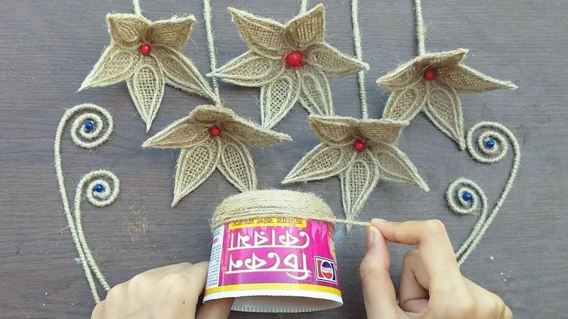How To Make Jute Burlap Flower With Vase    DIY Home Decor Jute Flower And Vase Craft Ideas