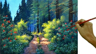 Acrylic Landscape Painting in Time-lapse / Pathway to the Forest / JMLisondra
