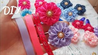 Цветы из узкой ленты . Мк канзаши. Flowers from a ribbon. Blommor frn ett  de cinta. Diy
