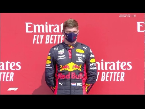 Formula 1 2020 70th Anniversary GP Podium Anthem Celebration Verstappen first win in 2020 season