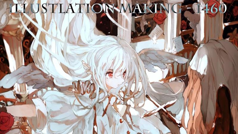 イラストメイキング Illustration Making No 1460 170倍速 字幕解説&レイヤー🌙 speed painting