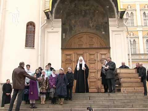 По традиции на Благовещение Патриарх выпустил голубей