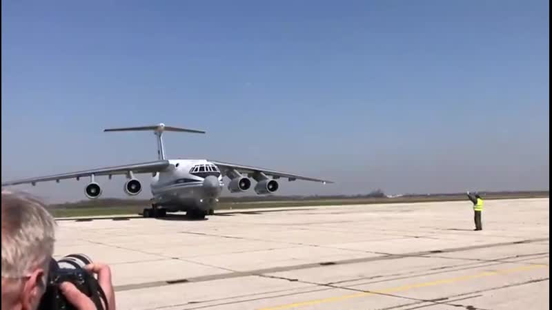 IL76 landed in Batajnica Air Base with humanitarian aid to fight COVID19
