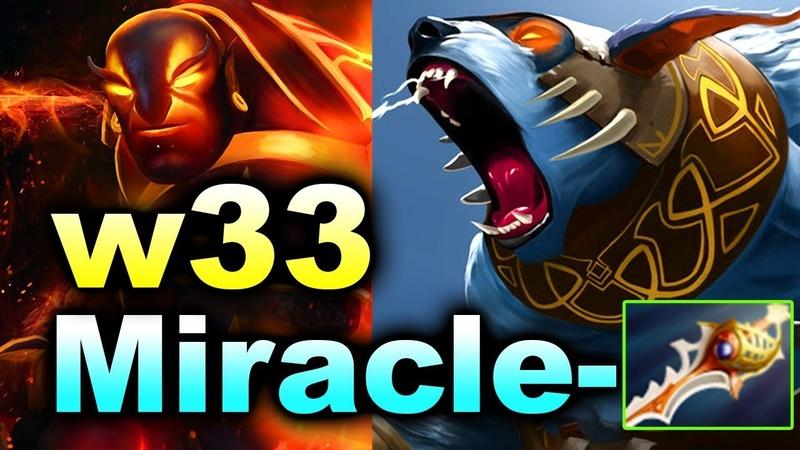 W33 vs Miracle- Rapier Drops 7.18 Patch - Solo Ranked MMR DOTA 2