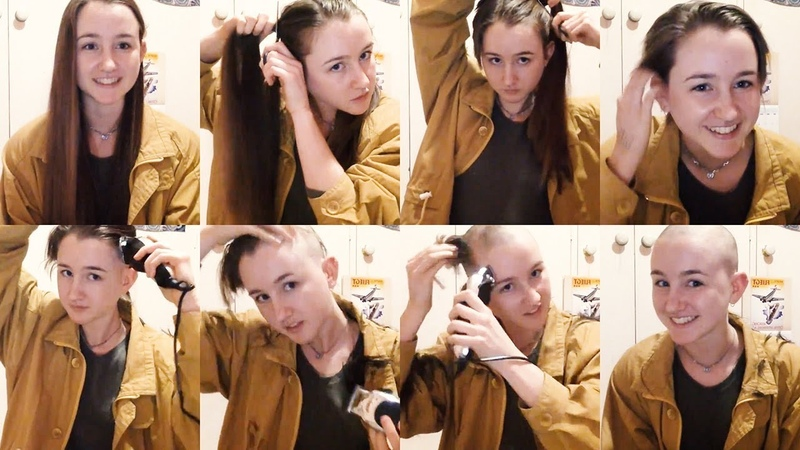 Young pretty brunette cuts off her long hair and shaves her head bald