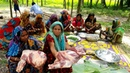 Beef Curry Cooking for 200 Kids Villagers Two Full Leg Pieces Of Cow Curry Prepared By Women