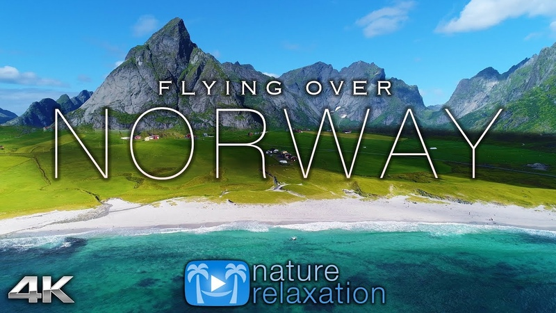 FLYING OVER NORWAY (4K UHD) 1HR Ambient Drone Film Music by Nature Relaxation™ for Stress Relief