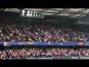 Arsenal fans chanting Unai Emery's red white army in the away end at Stamford Bridge. [@ChrisWheatley_] afc