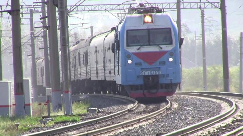 Электровоз ЭП1П 043 С почтово багажным поездом Вос Сиб жд
