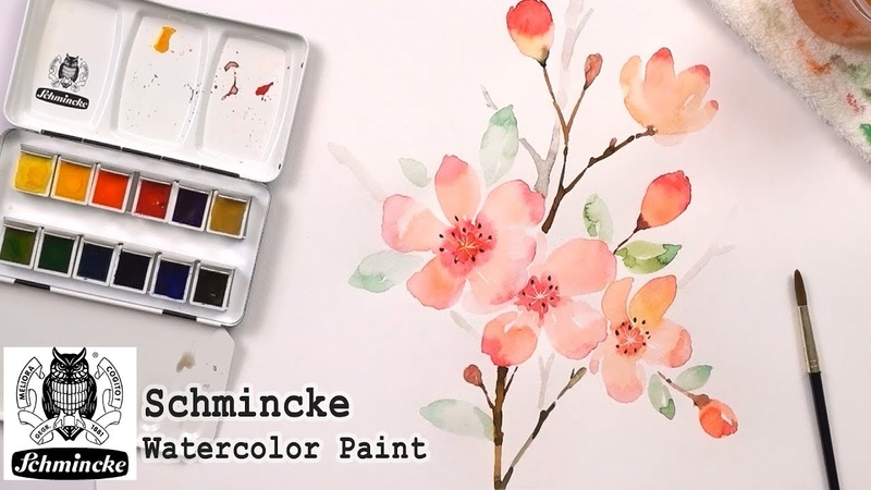 Painting with Schmincke Watercolor Set | How to Paint Flowers