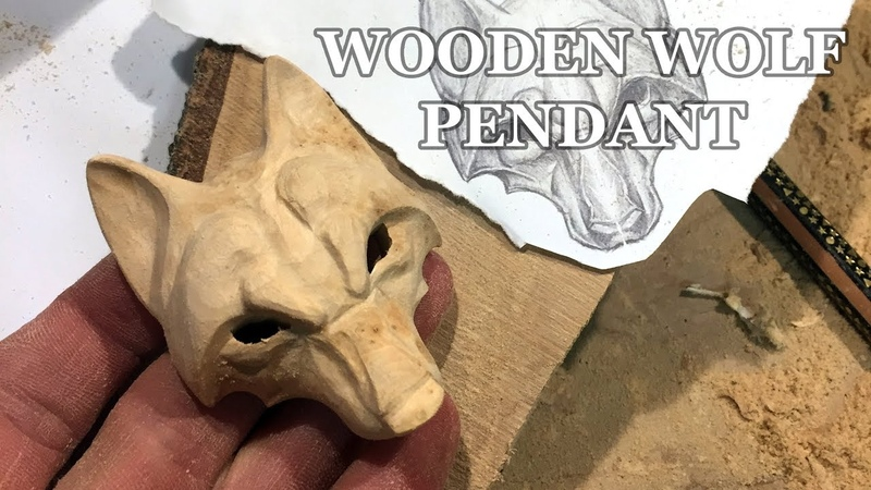 WOLF WOOD CARVING | HOW TO CARVE A WOLF PENDANT | WOODCARVING TIMELAPSE