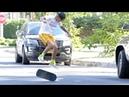 Justin skateboarding in Toluca Lake California today October 12