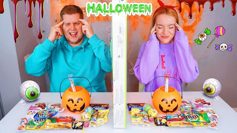 ТЕЛЕПАТИЯ СЛАДОСТИ НА ХЭЛЛОУИН ЧЕЛЛЕНДЖ 🎃 СЛАДОСТЬ ИЛИ 💩 TWIN TELEPATHY HALLOWEEN CANDY CHALLENGE