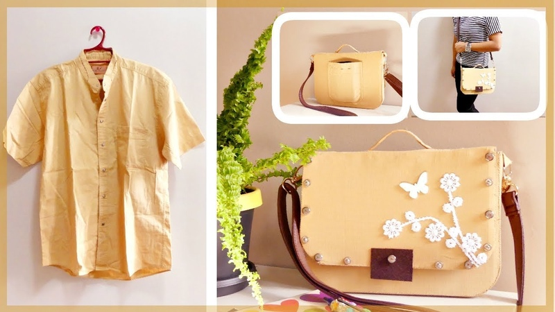 DIY Satchel Bag From Men's Shirt to Cute Satchel Bag Recycling Old Clothes