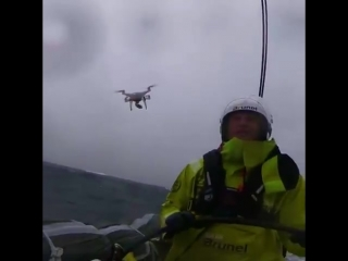 When you catch a drone mid-air while driving a Volvo Ocean Race boat at record speeds.