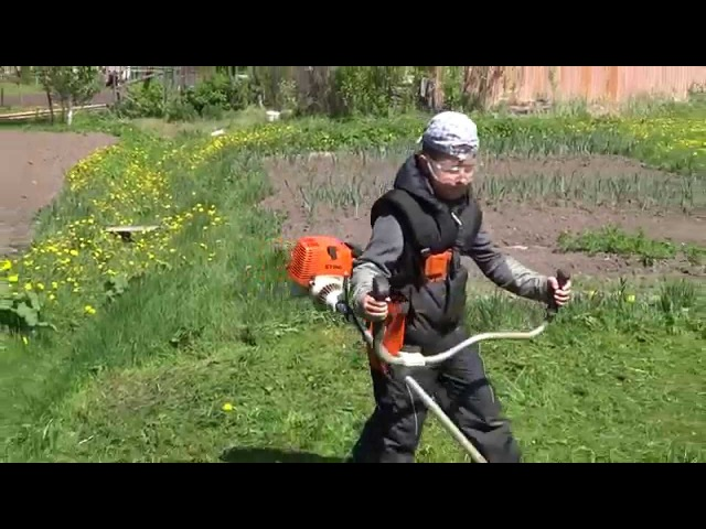 Бензокоса Stihl FS 130. Children and Stihl.