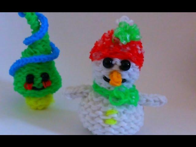 Снеговик из резинокRainbow Loom Snowman 3D Charm