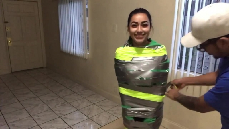 100 layers of duck tape challenge! Ft. Boyfriend