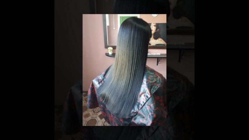 Студия Карамель. Кератиновое выпрямление волос. Состав смыт, волосы высушены феном , без расчески...