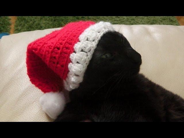 как связать крючком Санта шляпу