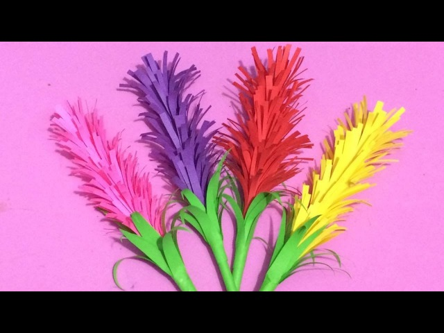 How to Make Lavender Flower with Color Paper | Making Paper Flowers Step by Step | DIY-Paper Crafts