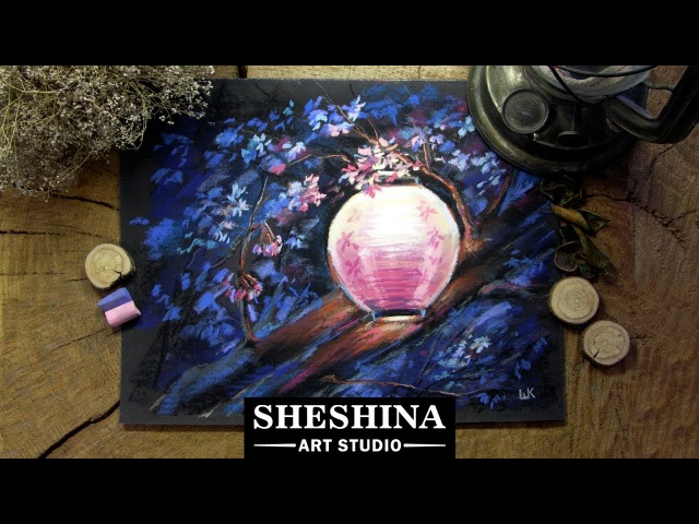 How to draw a Japanese Lantern on a blooming sakura with soft pastels 🎨 FLOWERS