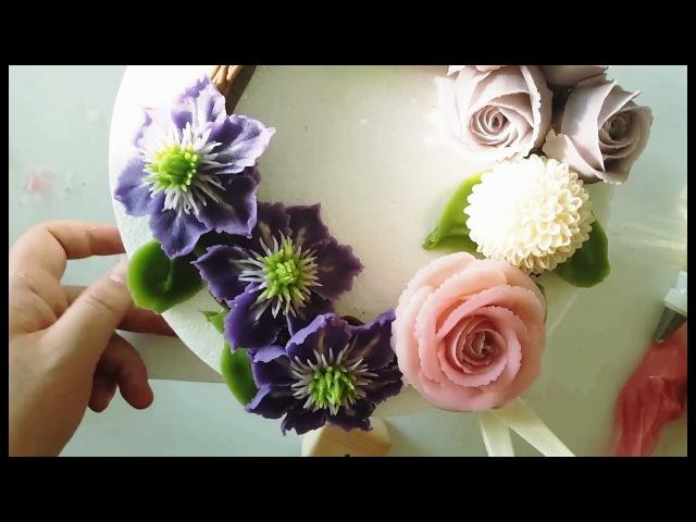 (vk.com/lakomkavk) Бобовая паста. Цветы из бобовой пасты. Clematis, Rose, pompon/ beanpaste flower piping