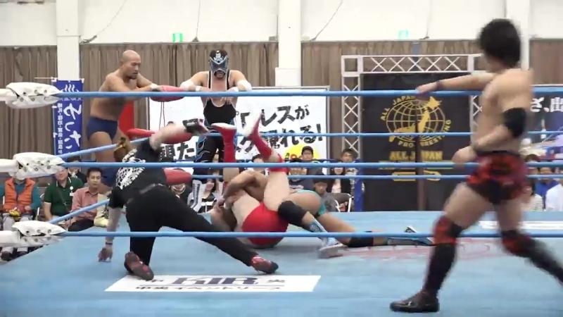 Atsushi Aoki, Yusuke Okada, Naoki Sakurajima vs. Koji Iwamoto, Atsushi Maruyama, Kazuki Ebina (AJPW - Champion Carnival 2018 - D