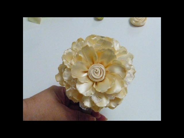 Hermosas Flores de liston Raso DIY Satin ribbon rose