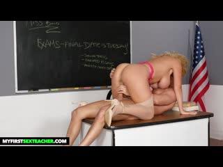 Зрелая учительница трахает школьника за плохие оценки, milf teacher busty big tit mom mature son boy love incest (Hot&Horny)