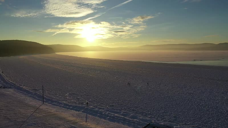 Закат и первый лед на оз Тургояк