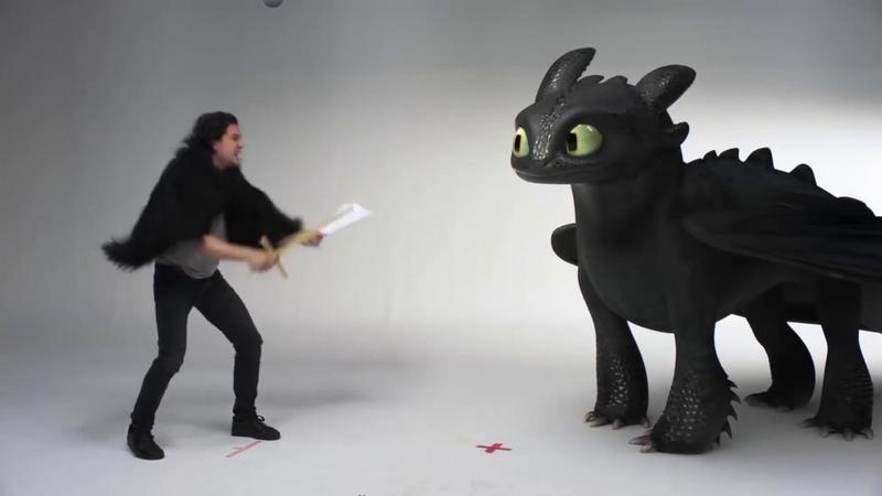 Кит Харрингтон и Беззубик на кастинге сериала Игра Престолов 2019