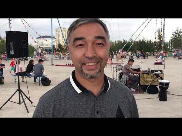 В Уфе в парке Кашкадан дают представление узбекские канатоходцы Рахмановы