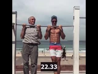 Strength of Body. Дедушка 72 года провисел почти на уровне с молодым спортсменом