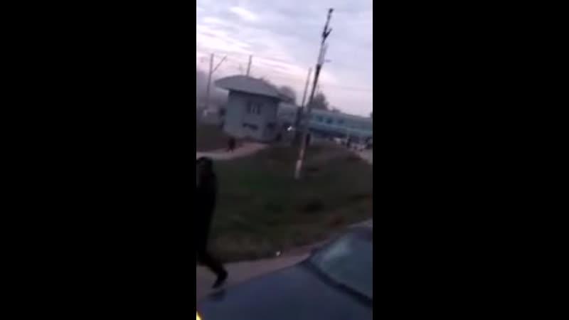 Авария поезда и автобуса