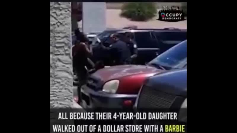 Phoenix cops threaten to execute pregnant mother because 4yo walked out of store with a Barbie doll. (360p)