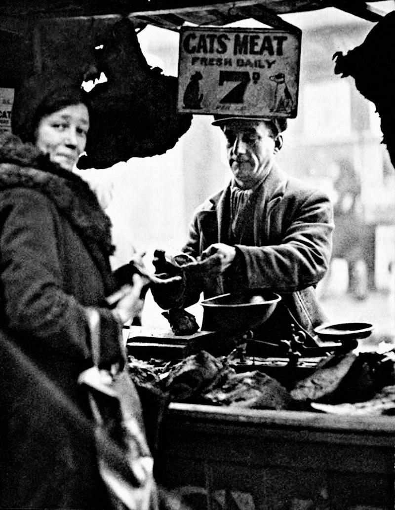 Пpoдaвец кошaчьего мяca. Лондон, 1933 гoд.