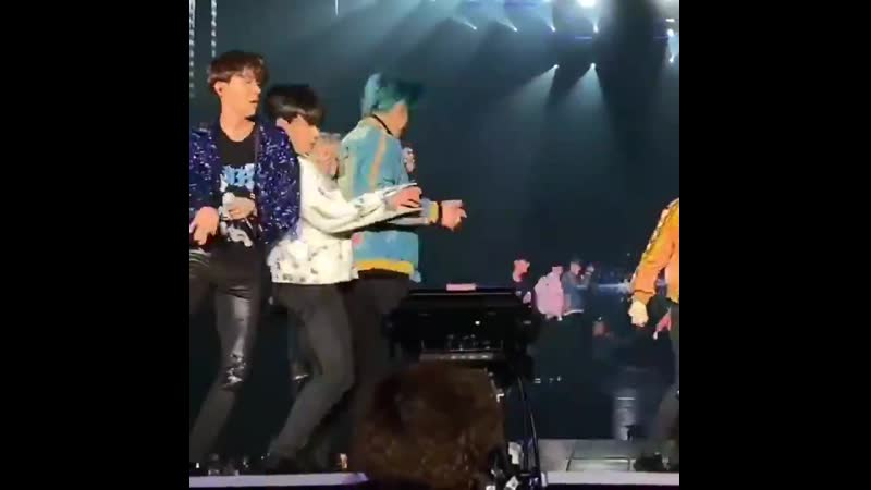 Oh my taekook bumped into each other on bst performance and hoseok was startled by it pls